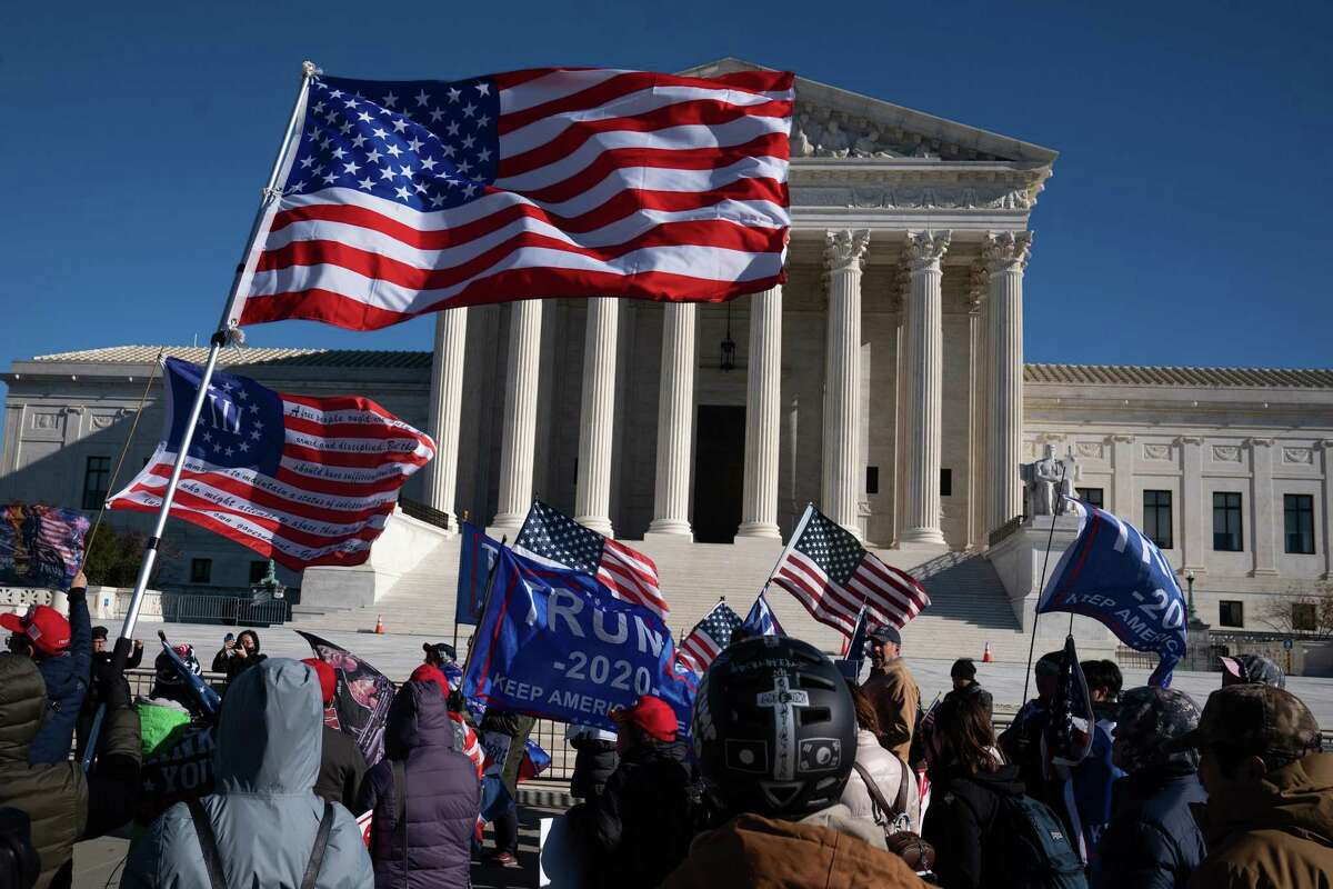 """A """"Stop the Steal"""" rally was held outside of the Supreme Court on Wednesday."""