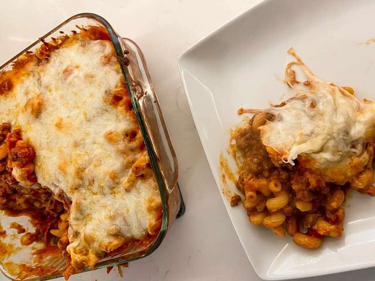 Pizza Casserole is a mix of spaghetti and pizza and with warm cheese