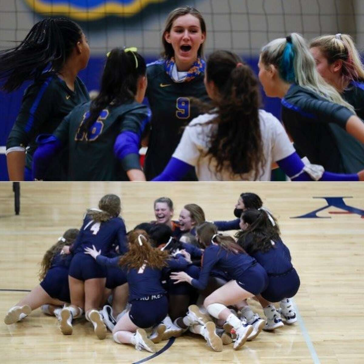 Klein (top) and Seven Lakes will face off for the Class 6A volleyball championship on Saturday in Garland.