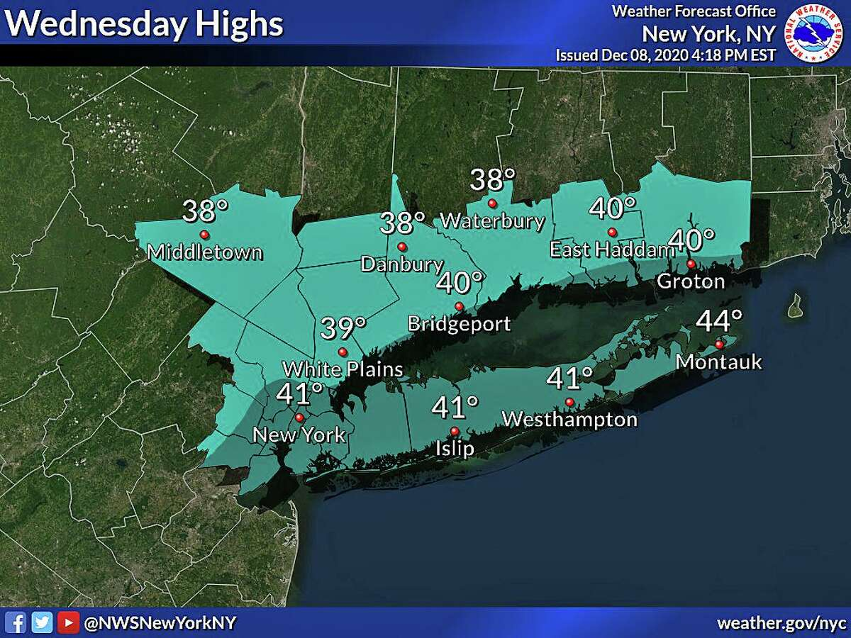 High temperatures on Wednesday will stay below average with wind chill values being up to 10 degrees colder. Scattered rain and snow showers are possible during the early morning hours and through the afternoon