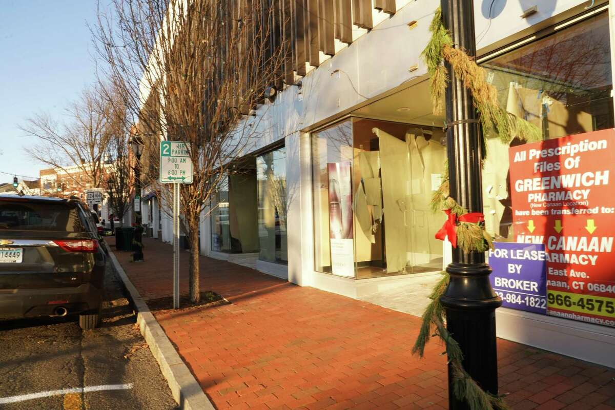 Sixteen store fronts are vacant in New Canaan. One area particularly badly hit is on Main Street near the corner of Elm Street where there is a stretch of four vacant store fronts in a row, as of Dec. 8, 2020.