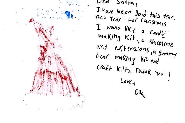 "A letter to Santa from a Connecticut child that was posted on the USPS Operation Santa site. Letters are ""adopted"" by people who fulfill the wish lists and bring the gifts to the postal service to be delivered to the child in need."