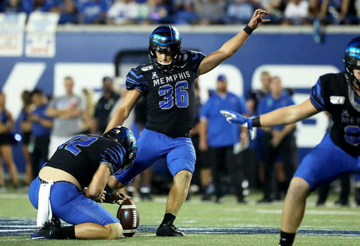 Memphis kicker Riley Patterson (36) kicks a field goal during a Nov. 28 game against Navy. Patterson is wrapping up his college career after playing prep football for the Edwardsville Tigers.