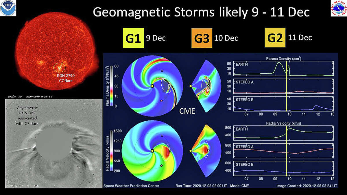 """According to NOAA's Space Weather Prediction Center, a geomagnetic storm watch is in effect from Wednesday, Dec. 9 to Friday, Dec. 11. Strong storms levels, categorized as G3, are expected after scientists witnessed """"coronal mass ejection"""" due to a solar flare."""