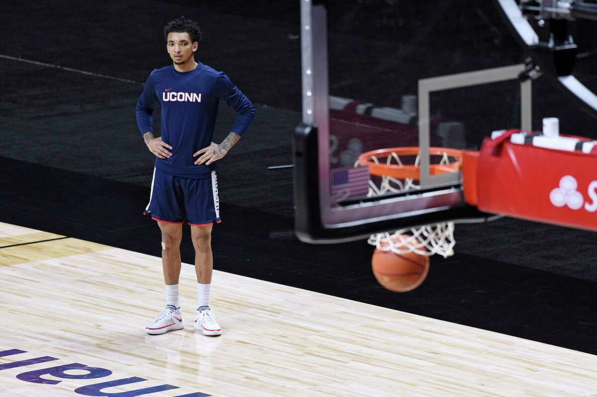 Connecticut's James Bouknight during an NCAA college basketball game, Thursday, Dec. 3, 2020, in Uncasville, Conn. (AP Photo/Jessica Hill)