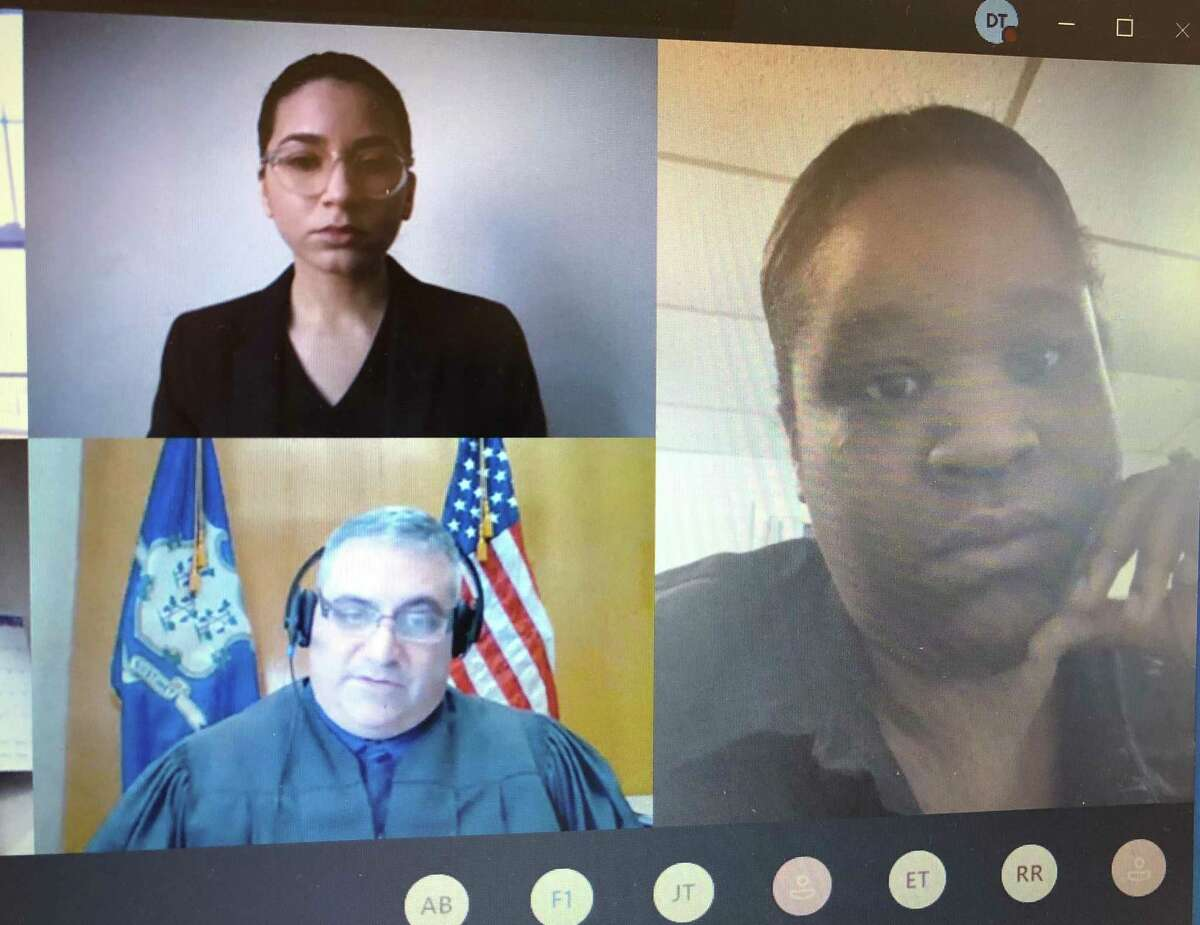 Jamaira Watson, right, who is suffering from COVID-19, agreed to vacate her apartment by February to avoid being evicted. Also on the Wednesday, Dec. 9 Zoom call were her lawyer, Melissa Marichal, top, and Superior Court Judge Walter Spader.