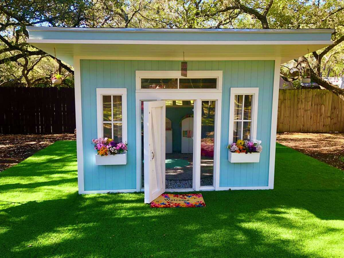 The $8,000 playhouse in 3-year-old Lila Romo's backyard took about a month to construct.