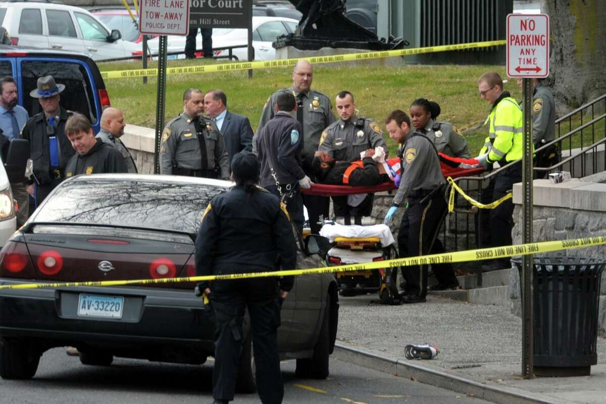 The scene outside the Golden Hill Street courthouse shortly after reports of four people shot in Bridgeport, Conn. Jan. 27, 2020.
