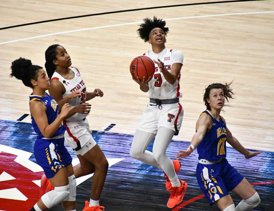 Texas Tech's Maka Jackson tries to put up a shot while being fouled during a non-conference women's college basketball game against Angelo State on Dec. 9, 2020 in the United Supermarkets Arena in Lubbock. Photo: Nathan Giese/Planview Herald