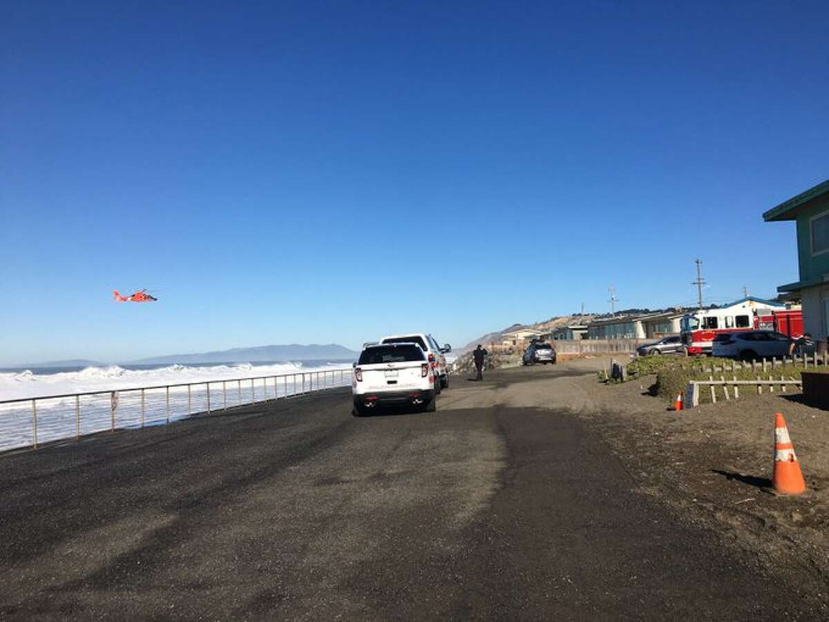 Search and rescue teams looked for a man who was swept away to sea in Pacifica, Calif., on Dec. 8, 2020.