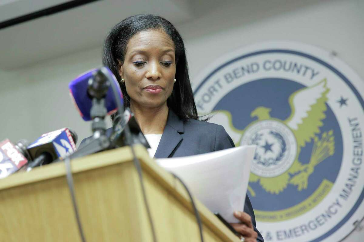 Dr. Jacqueline Minter, from the Fort Bend County Health Authority, during a press conference at the Fort Bend County Homeland Security and Emergency Management in Richmond, Texas, on Wednesday, March 4, 2020.