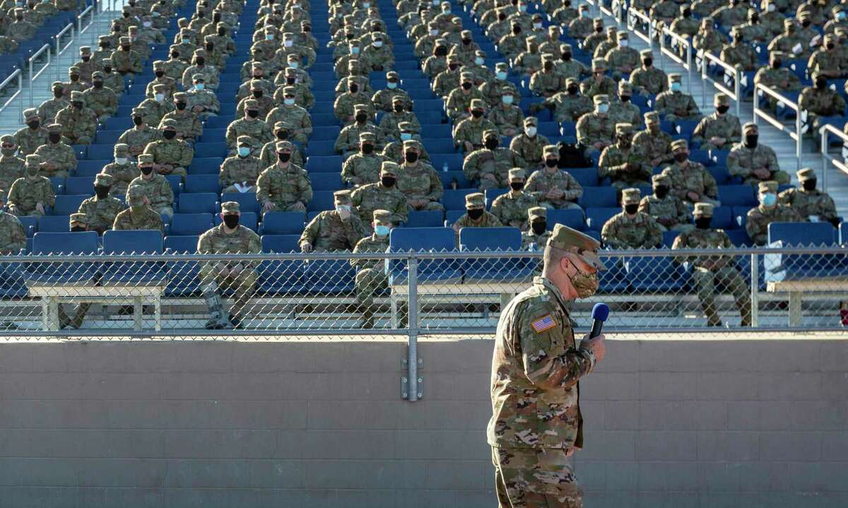 Lt. Gen. Pat White, commander of III Corps and Fort Hood, speaks to enlisted soldiers Tuesday, Dec. 8, 2020, at Hood Stadium on Fort Hood in Killeen, Texas as he discusses the findings in the independent probe into the command culture and climate at Fort Hood. The investigation was launched last summer amid national scrutiny of the killing of a young soldier from Houston, Spc. Vanessa GuillŽn.