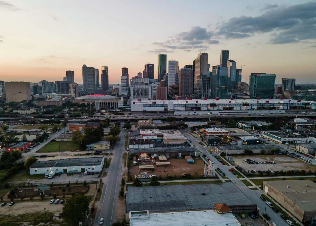 The We Love Houston signs sits at 8th Wonder brewery east of downtown Houston on Friday, Nov. 6, 2020.