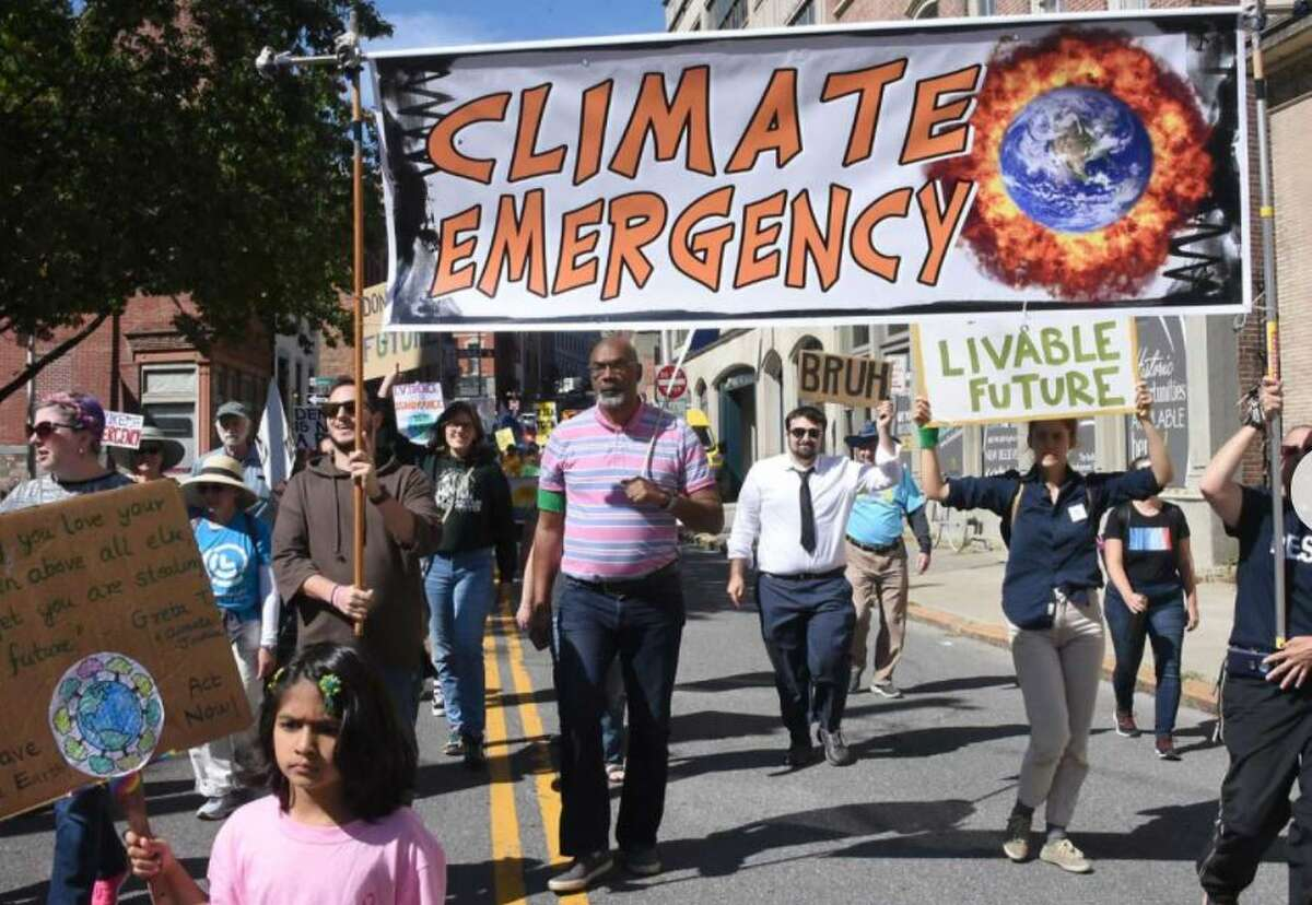 Capital District residents participate in the international student climate strike on Friday, Sept. 20, 2019 in Albany, N.Y.