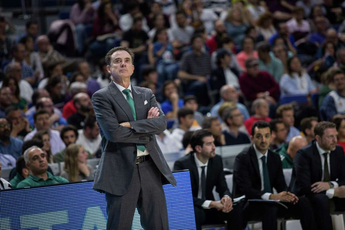 WIZINK CENTER, MADRID, SPAIN - 2019/04/19: Rick Pitino during Real Madrid victory over Panathinaikos Opap Athens (78 - 63) in Turkish Airlines Euroleague replayoff game 2 celebrated at Wizink Center in Madrid (Spain). (Photo by Juan Carlos García Mate/Pacific Press/LightRocket via Getty Images)