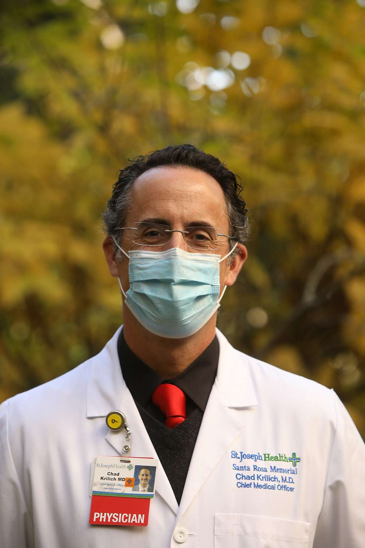 Chief Medical Officer Chad Krilich poses for a portrait in the healing garden at Santa Rosa Memorial Hospital on Wednesday, December 9, 2020, in Santa Rosa, Calif. (Yalonda M. James / The Chronicle)