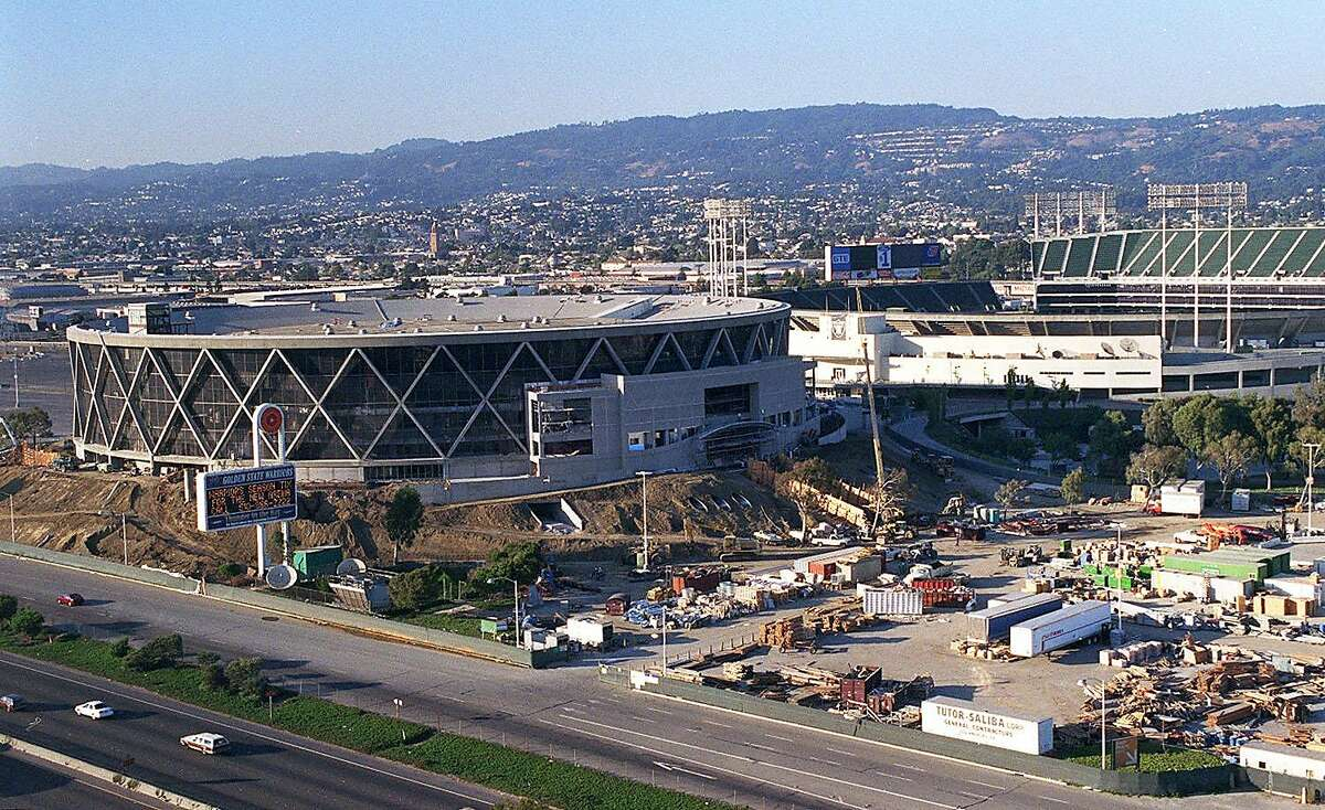 The Oakland Arena while it was being renovated in the late 1990s.