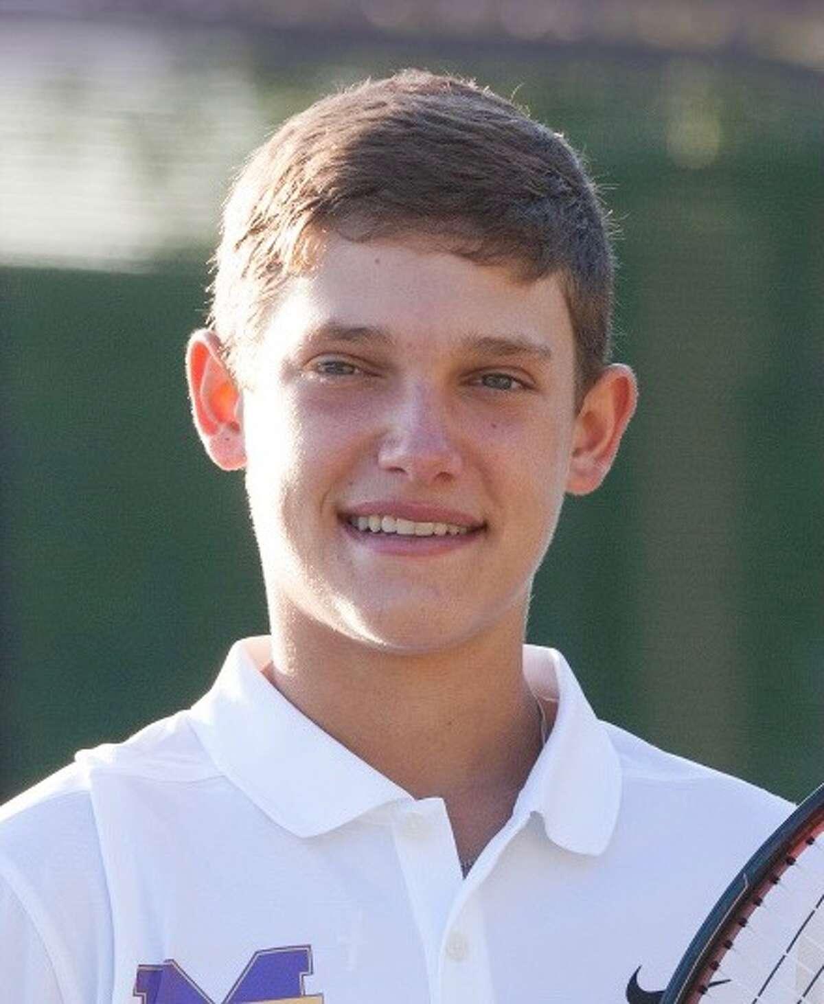 Midland High senior tennis player Tyler Stewart