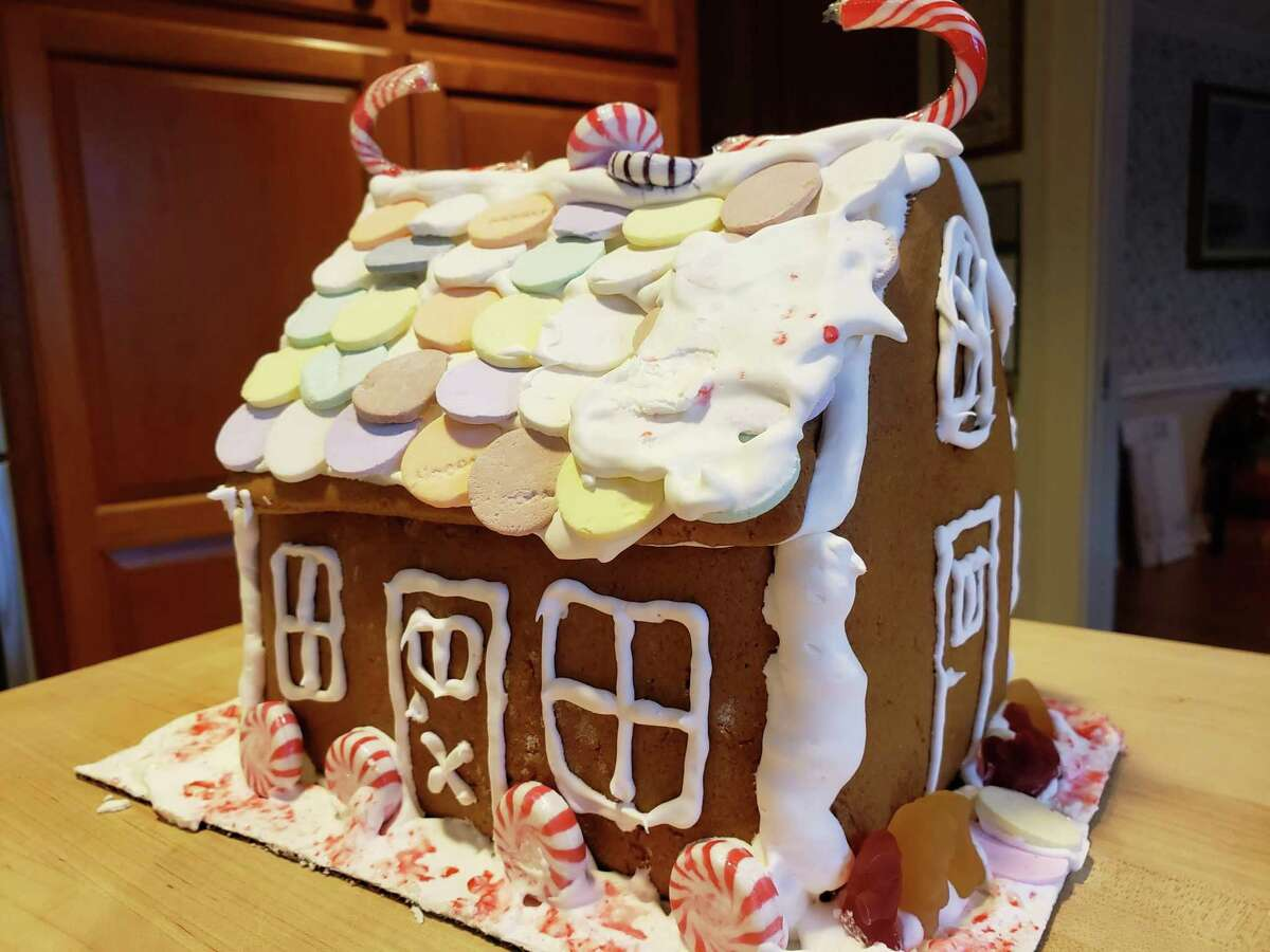 The Whitman family gingerbread house was a group effort.