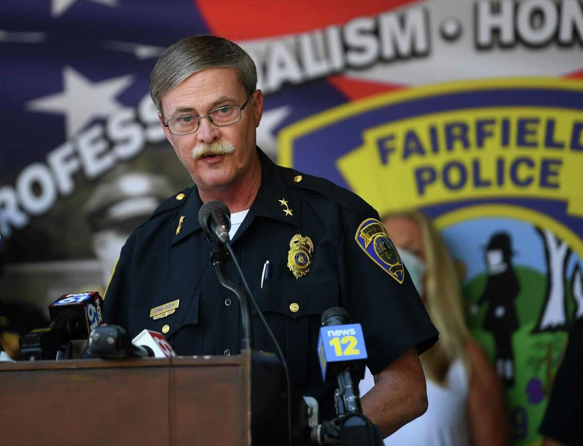 Fairfield Police Chief Chris Lyddy speaks in opposition to police bill HB-6004 during a press conference outside Fairfield Police Headquarters in Fairfield, Conn. on Monday, Julty 27, 2020.