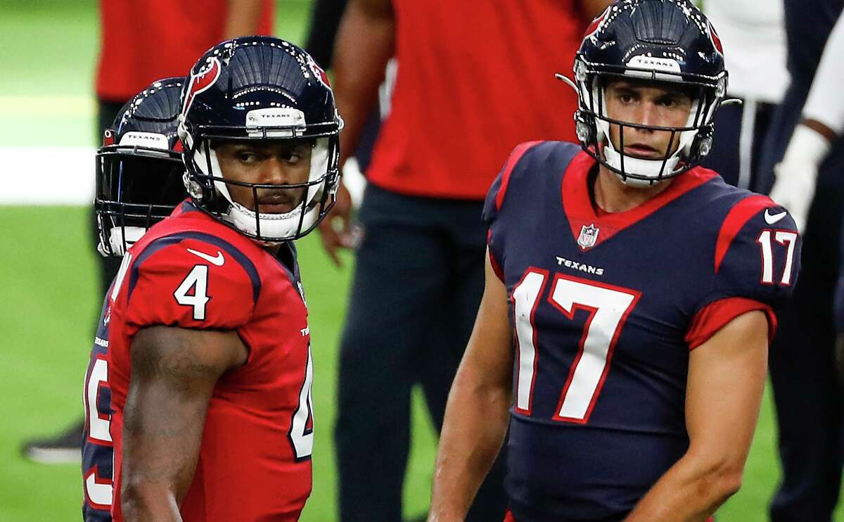 Texans receiver Chad Hansen (17), shown during training camp with quarterback Deshaun Watson, came off the practice squad last week and produced 101 yards on five catches in the 26-20 loss to the Colts.