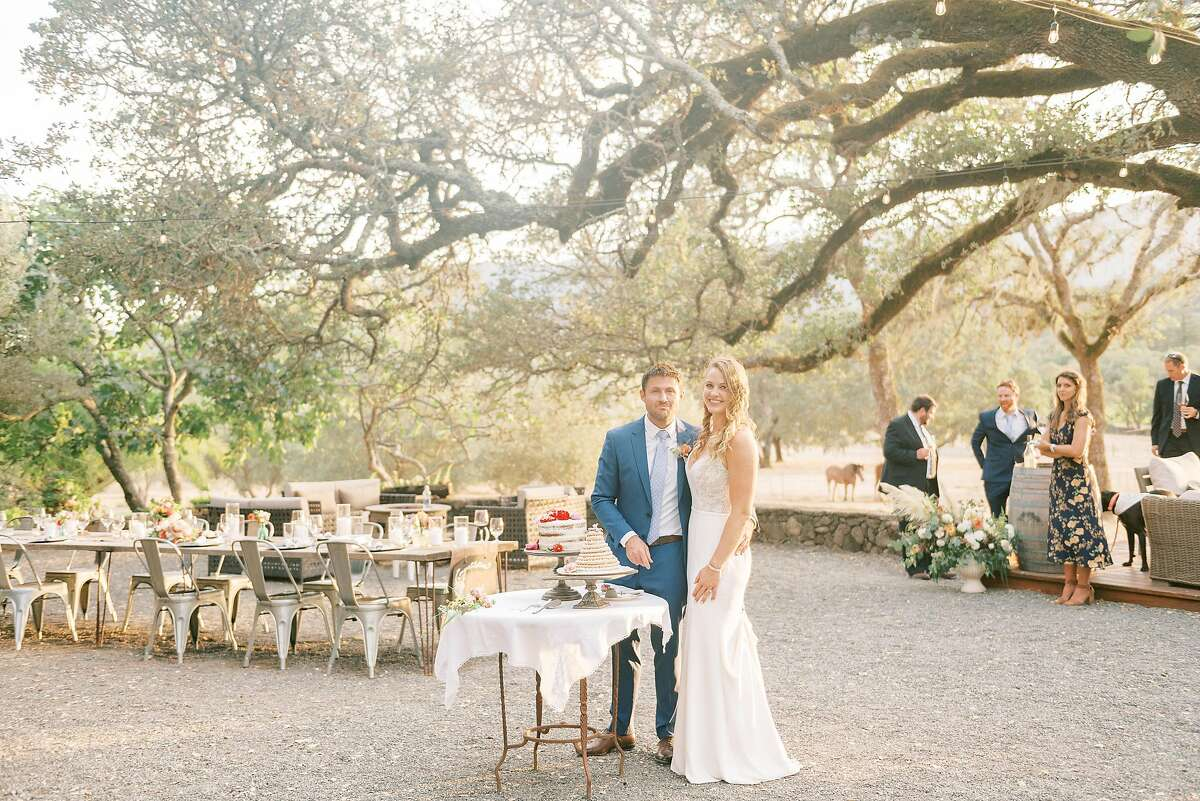 Natasha Nelson and Jack Traxler held their wedding at Beltane Ranch in Sonoma on September 26 with just their immediate families, under the 12-person limit for weddings in Sonoma County.