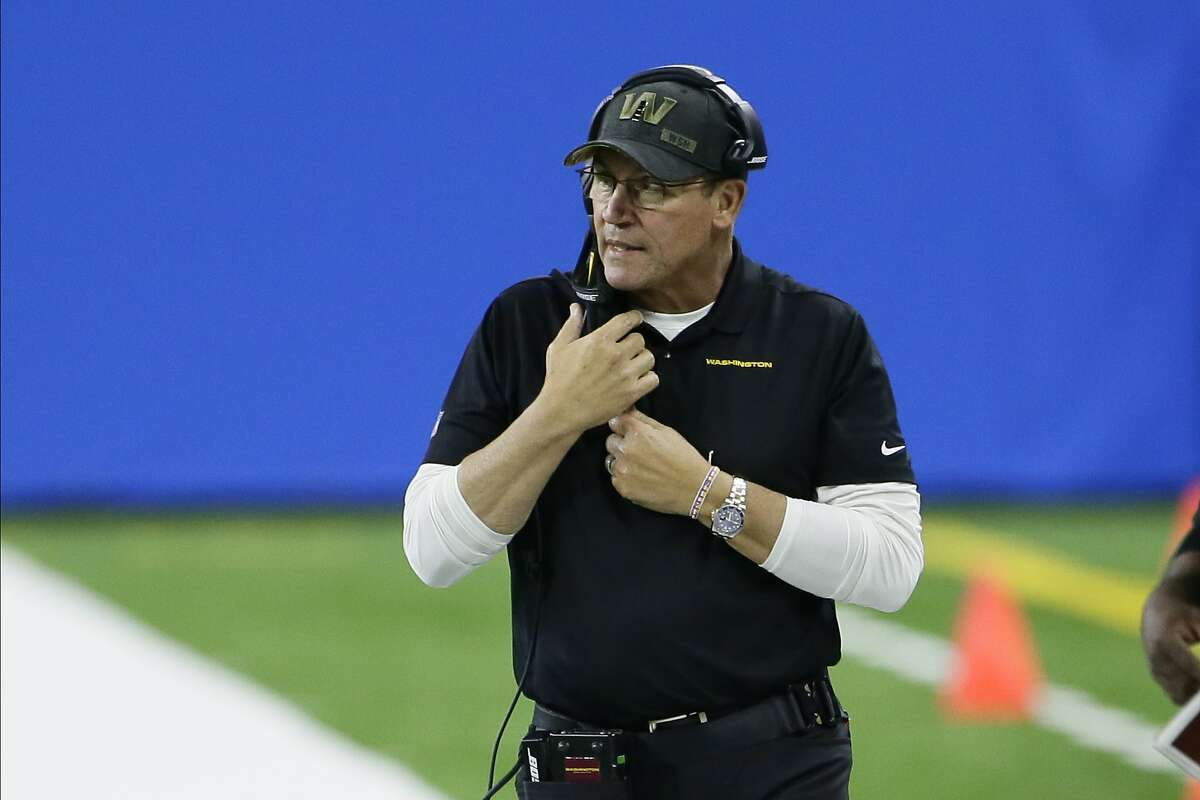 Washington Football Team head coach Ron Rivera watches against the Detroit Lions during the second half on Nov. 15. After starting his first season 2-7, Washington has won three straight.