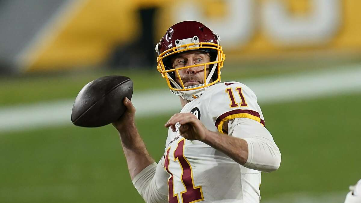 Washington Football Team quarterback Alex Smith (11) plays in an NFL football game against the Pittsburgh Steelers, Monday, Dec. 7, 2020, in Pittsburgh. (AP Photo/Keith Srakocic)