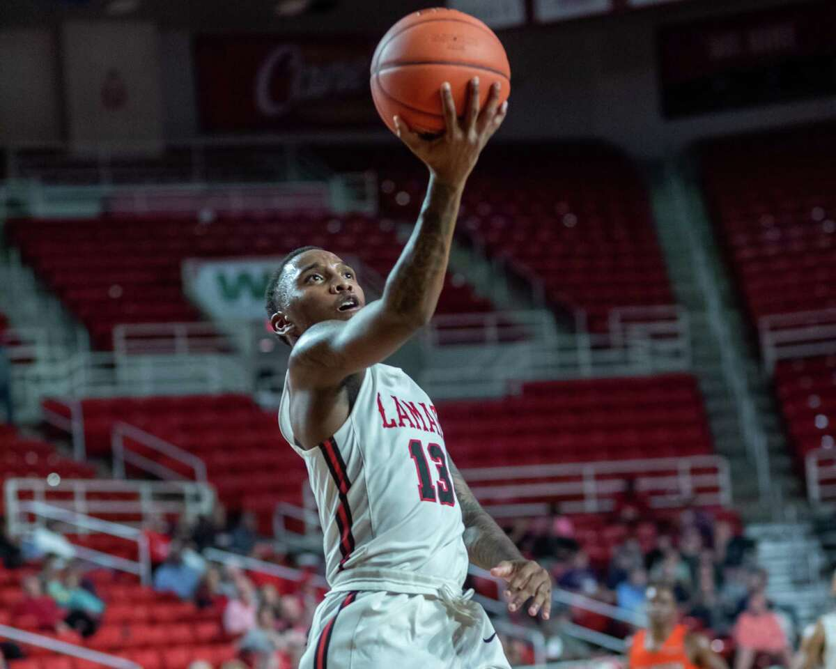 Davion Buster (13) puts up a shot in the first half as the Lamar Cardinals took on the Sam Houston State University Bearkats on Wednesday, January 15, 2020. Fran Ruchalski/The Enterprise