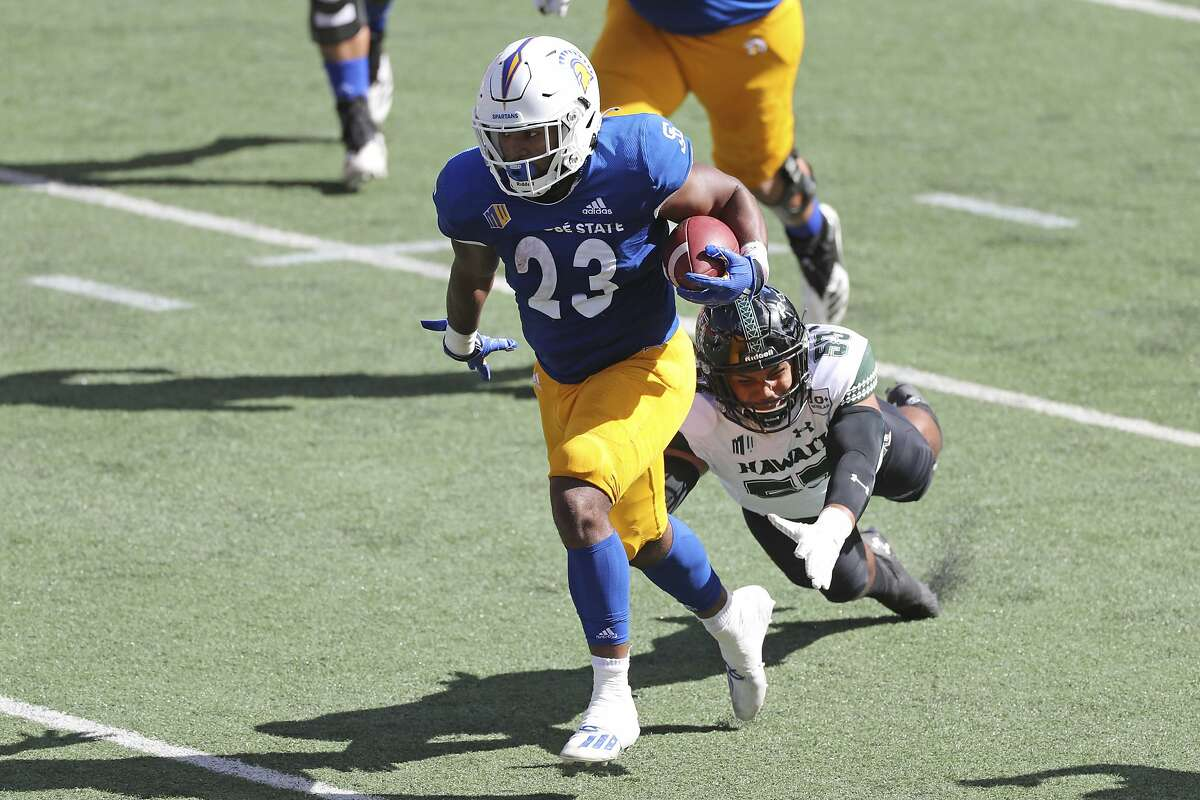 San Jose State running back Tyler Nevens rushed for 152 yards and two touchdowns against Hawaii last Saturday in the Spartans' 35-24 win in Honolulu.