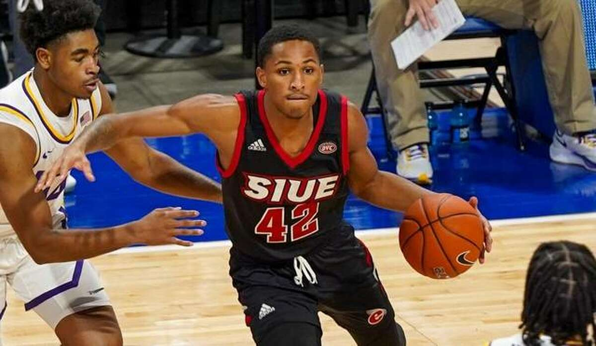 SIUE's Shamar Wright in action earlier this season against LSU in the Billiken Classic at the Chafietz Arena in St. Louis.