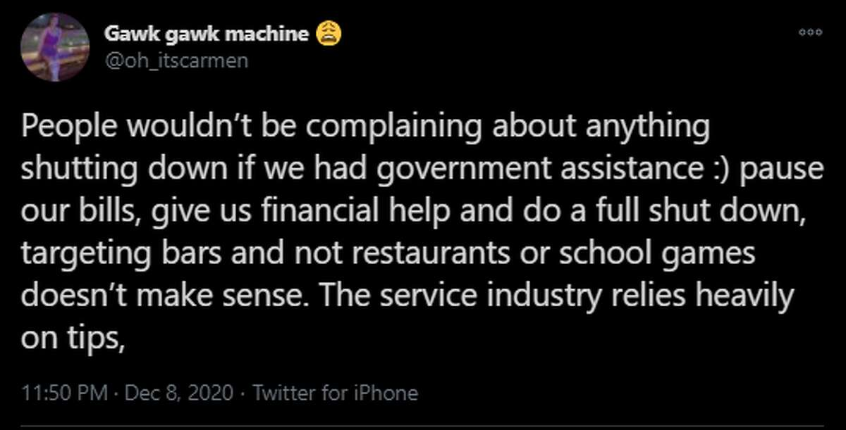 @oh_itscarmen says the government should help the bars during the shutdown period as the service industry relies heavily on tips.