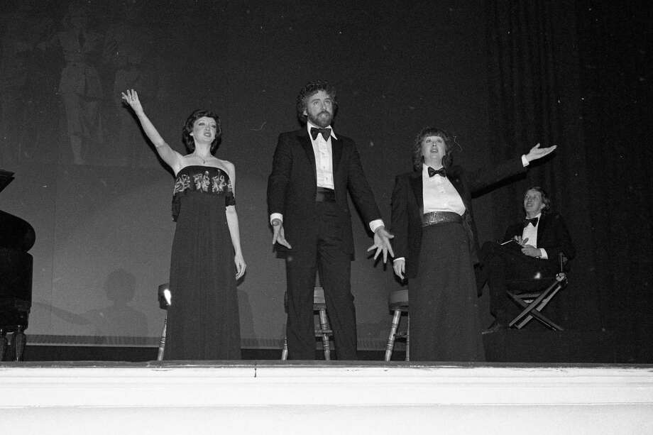 "From the front page of the News Advocate 40 years ago today, ""Nancy Ferguson, Peter Bliznick, and Judy Dopke inject their own brand of energy and enthusiasm into the song classics made famous by Judy Garland in ""Over the Rainbow,"" while Bill Ferguson (far right) as commentator, leads the audience through the various stages of the late star's life. The civic players' production was presented at the Ramsdell Theatre in 1980. (Manistee County Historical Museum photo)"