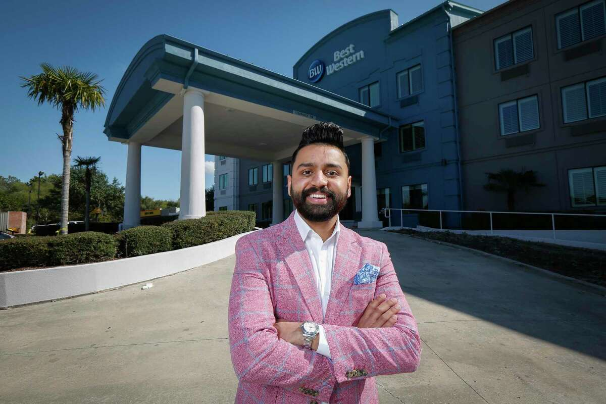 Miraj Patel, president of Wayside Investment Group, poses for a photo at the Best Western he's about to open near Bush airport Friday, Nov. 6, 2020, in Humble.