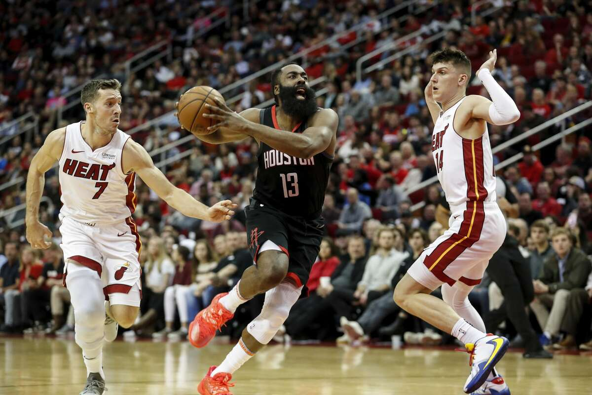 Reports say James Harden has added the Miami Heat to his trade destination wish list. Would the Rockets be interested in a trade package that involves 20-year-old Tyler Herro (right)?