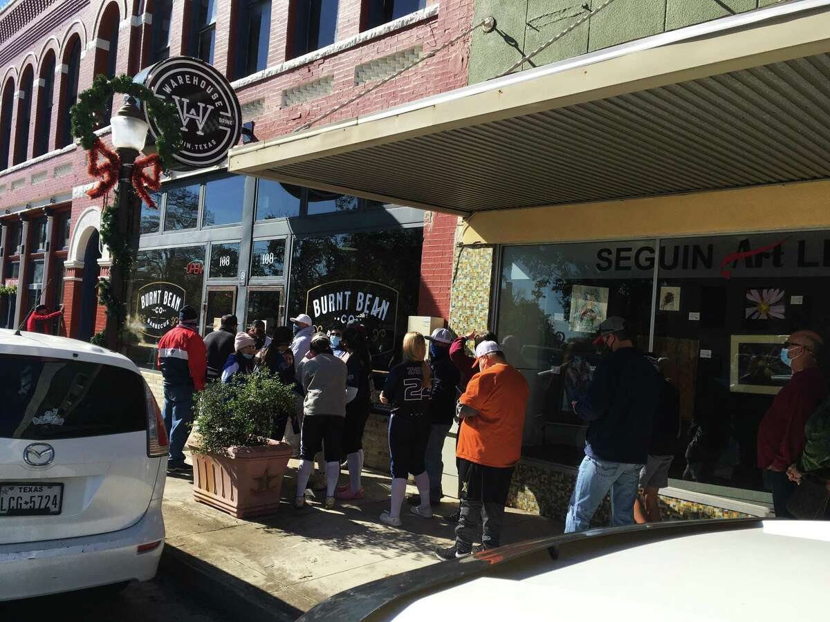 Lines start to form on Sunday for lunch service at the Burnt Bean Co. in Seguin.