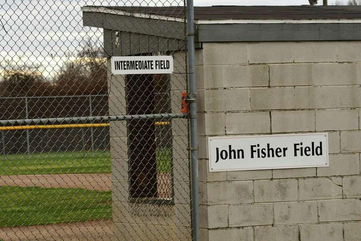 A sign is see on a the back of a dugout at the John Fisher Field at the Magee Park Tri -Village Little League on Thursday, Dec. 10, 2020 in Bethlehem, N.Y. (Lori Van Buren/Times Union)