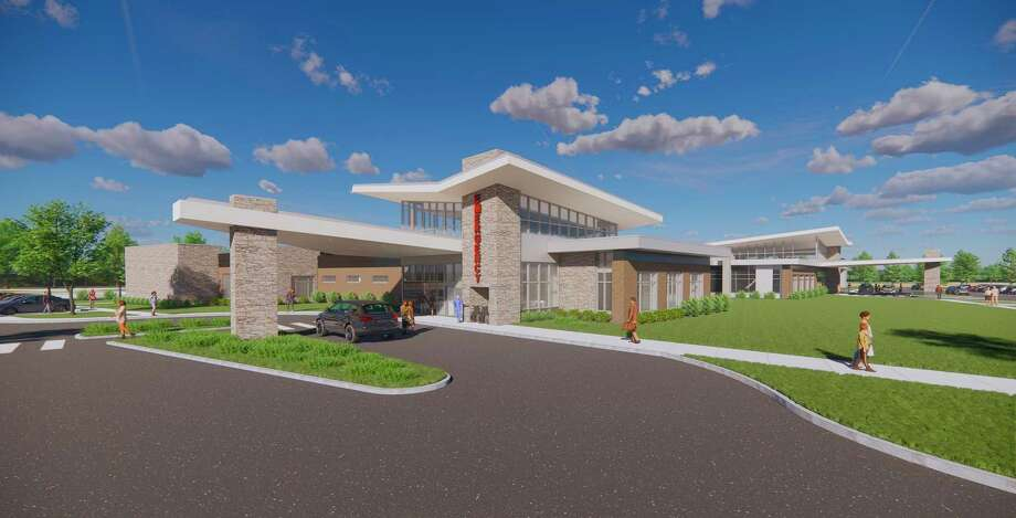 An architectural rendering shows the public entrance of the new Emergency Department to be built on the site of MidMichigan Health Park - Bay, 3051 Kiesel Road in Bay City. (Photo provided/MidMichigan Health)