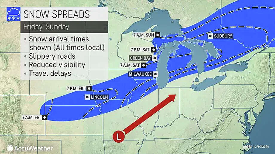 A winter storm moving across the Midwest this weekend could bring some flurries to west-central Illinois, but rain is more likely, forecasters say. Photo: AccuWeather