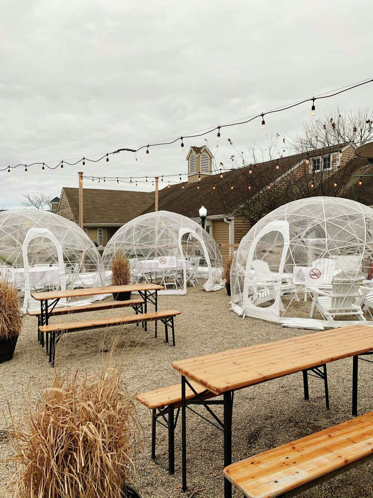 Jealous Monk, at 27 Coogan Blvd. in Mystic, is among those using igloos to maintain business during the colder weather.