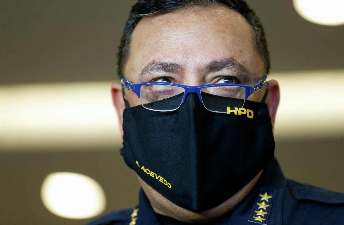 Houston Police chief Art Acevedo talks to reporters on Tuesday, Oct. 20, 2020, in Houston.