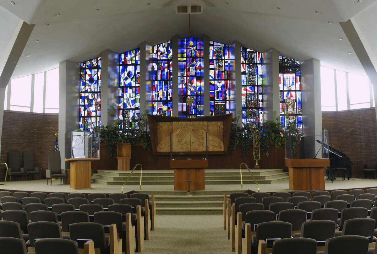 A view of the stained glass windows in the main sanctuary at Beth Emeth synagogue on Wednesday, Dec. 9, 2020, in Albany, N.Y. (Paul Buckowski/Times Union)