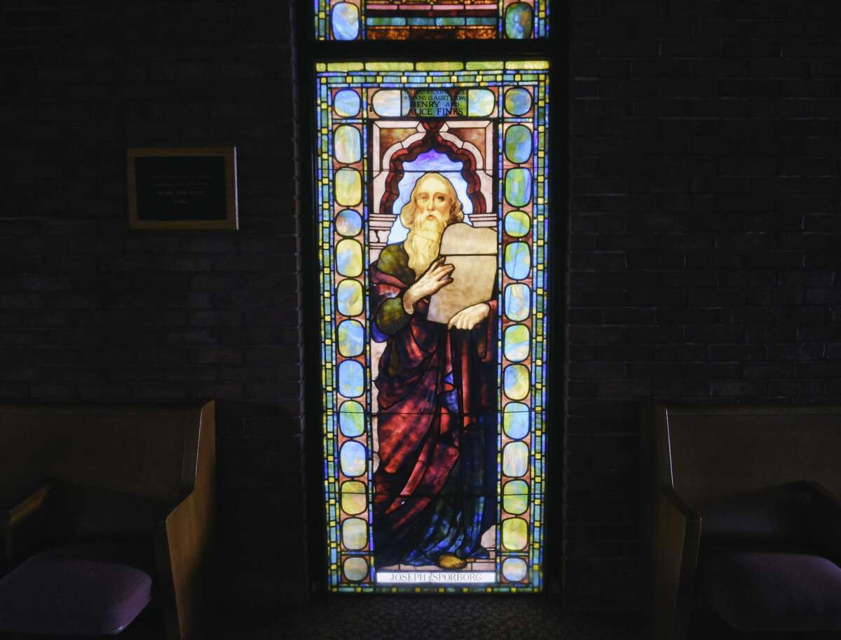A view of the Tiffany stained glass window depicting Moses, seen here in Wolk Hall at Beth Emeth synagogue on Wednesday, Dec. 9, 2020, in Albany, N.Y. (Paul Buckowski/Times Union)