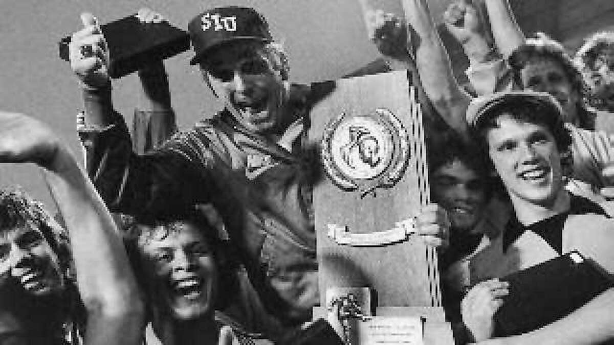 The late SIUE men's soccer coach Bob Guelker and his team celebrate their 1979 NCAA Division I national championship game win over Clemson at Tampa Stadium.