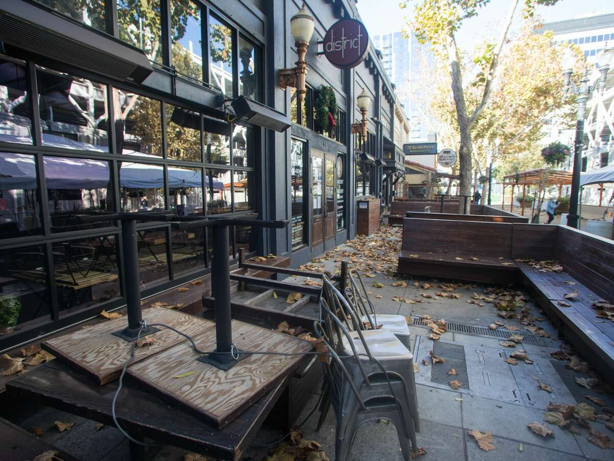 Outdoor dining was closed in in San Jose, Calif., because of the new stay-at-home order that took effect Dec. 7, 2020. Many small businesses in California impacted by the COVID-19 coronavirus are applying to the California Small Business Relief Grants program.