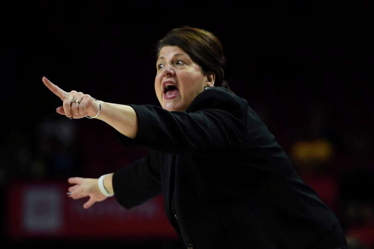 Quinnipiac women's basketball coach Tricia Fabbri instructs her team during the first half against Maryland in 2019.