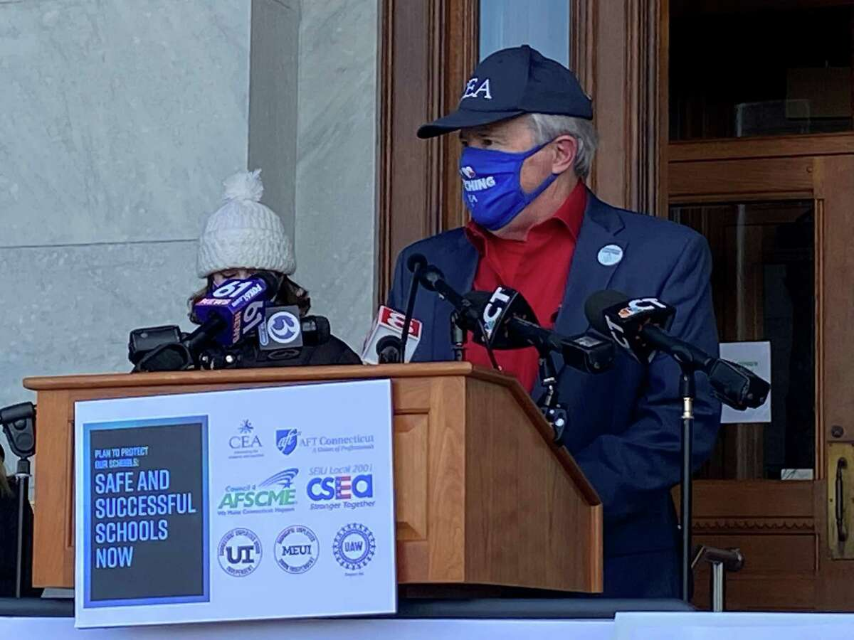 Connecticut Education Association President Jeff Leake at a news conference outside the state capitol. Dec. 10, 2020