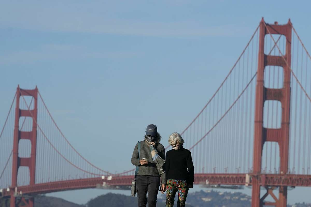 People wearing masks walk on a path in front of the Golden Gate Bridge during the coronavirus pandemic in San Francisco, Monday, Nov. 30, 2020.