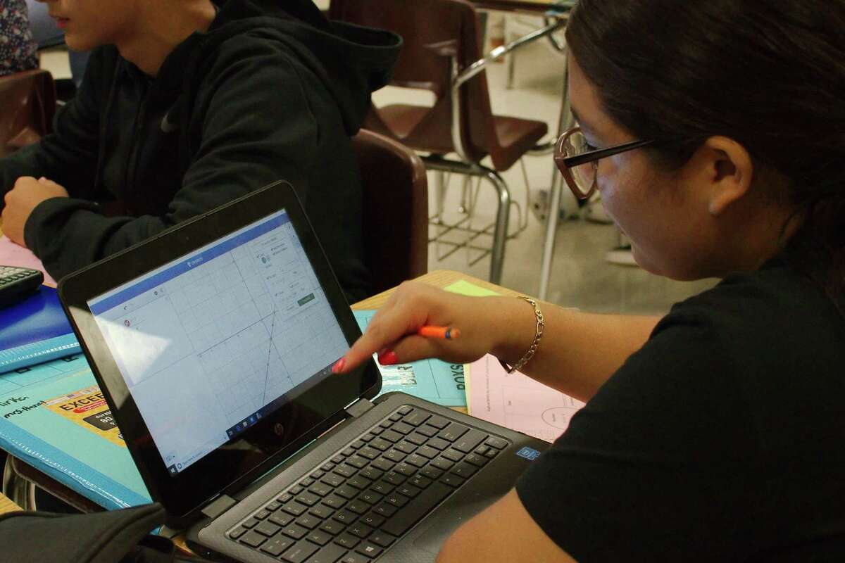 Students in Pasadena ISD, such as the one pictured in 2019 at Pasadena Memorial High School, will continue to have access to online-only courses in January, even if they failed a first-semester course, Superintendent DeeAnn Powell said Thursday. Powell's comments suggest the district will offer more leeway to struggling students than initially indicated in a policy released last Friday.