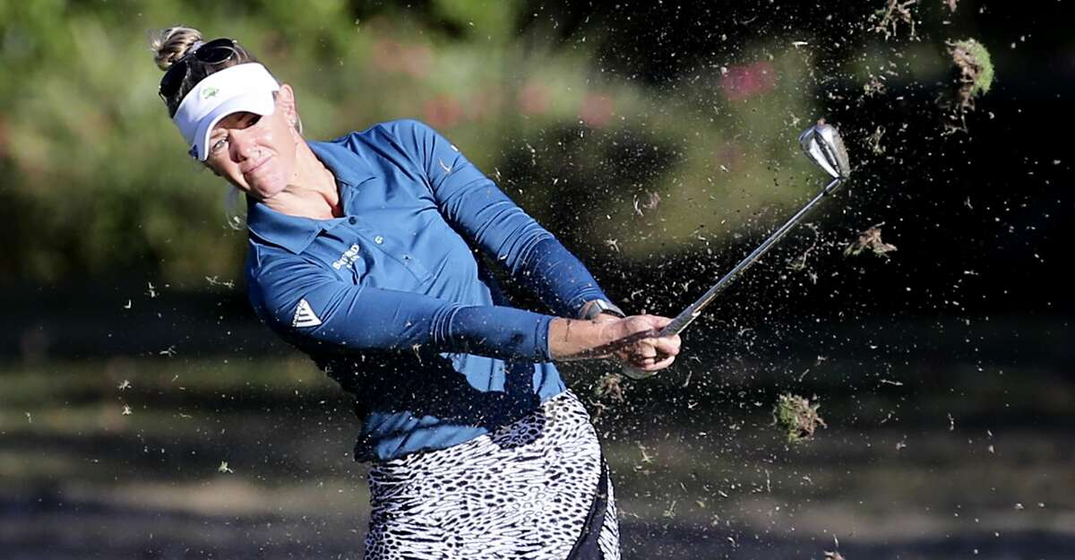 Amy Olson plays the ninth hole at Cypress Creek Course during the U.S. Women's Open at Champions Golf Club in Houston on Thursday, Dec. 10, 2020. Olson leads after the first round with a four below par.